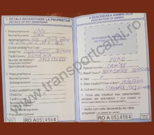 Pasaport completat corespunzator